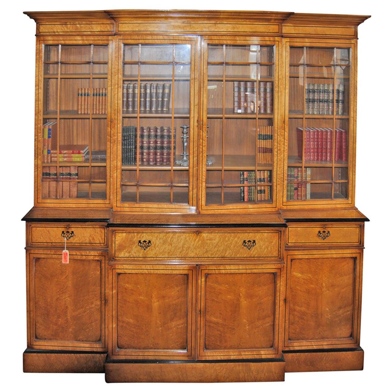 Crib for sale sheffield - English Bird S Eye Maple Breakfront Or Bookcase