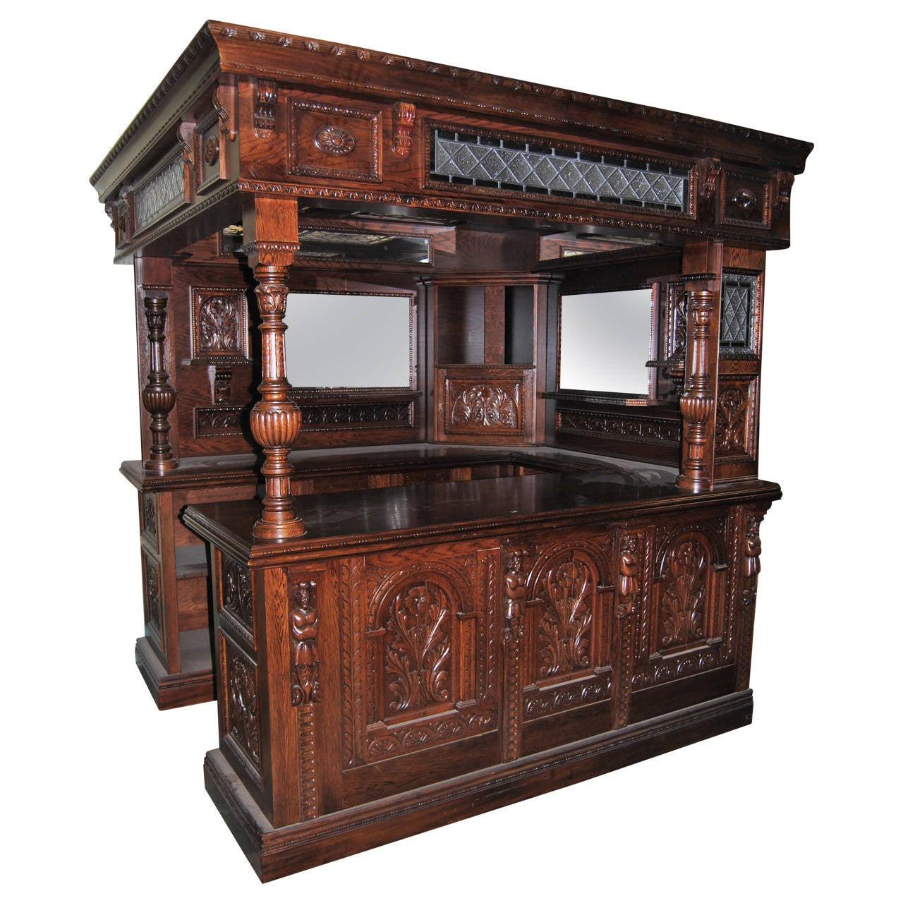 Bar Sets For Sale: English Oak Carved Corner Bar For Sale At 1stdibs