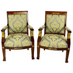 Early 19th Century Swiss Pair of Empire Armchairs