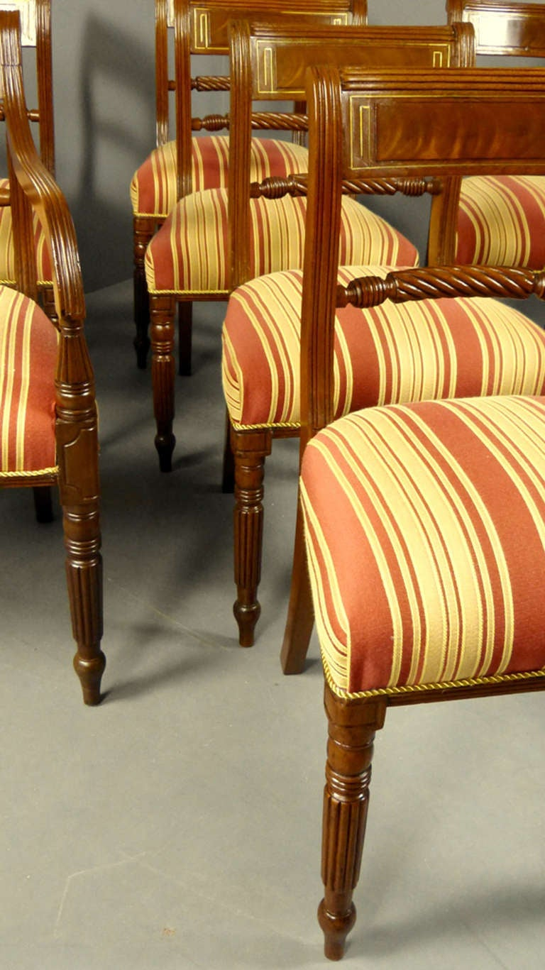 Regency set of 8 dining chairs at 1stdibs for Regency furniture living room sets