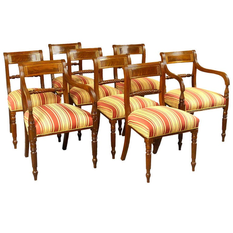 Regency Set Of 8 Dining Chairs At 1stdibs