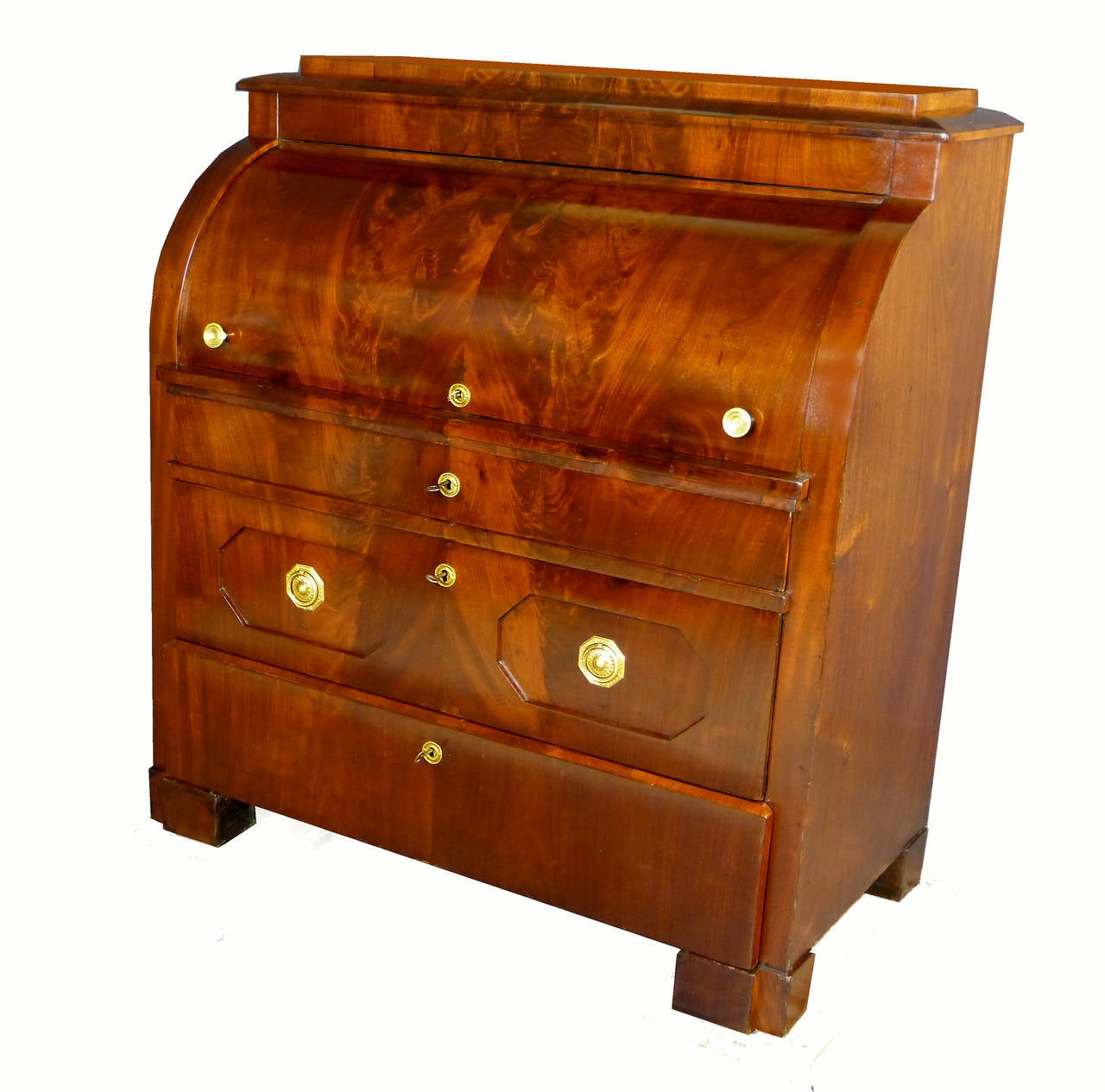 Bureau Secretaire Of Biedermeier Cylinder Top Bureau Secretaire At 1stdibs