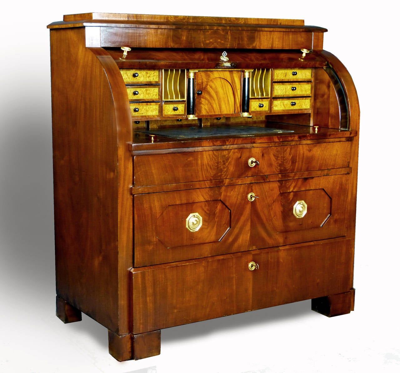 biedermeier cylinder top bureau secretaire at 1stdibs. Black Bedroom Furniture Sets. Home Design Ideas