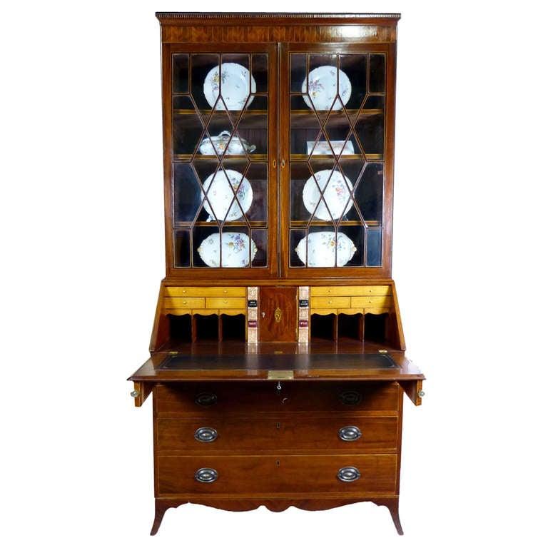 Georgian Bureau Bookcase, circa 1800 with Fine Inlays Ebony over Flame Mahogany