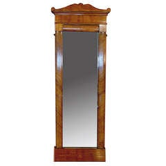 Early 19th Century Danish Biedermeier Tall Mirror Profusely Inlaid Walnut