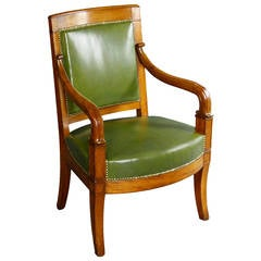 Mid-19th Century French Louis Philippe Armchair with Green Leather