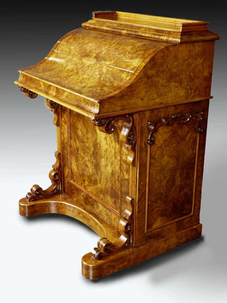 Large Piano Top Davenport Bureau Desk with Pop Up Tower in Burr