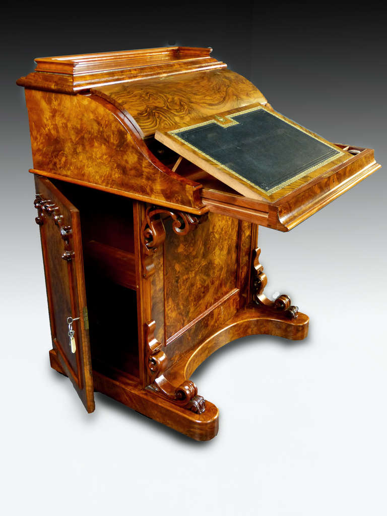 Large Piano Top Davenport Bureau Desk With Pop Up Tower In
