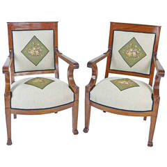 Early 19th Century Pair of Directoire Swiss Armchairs