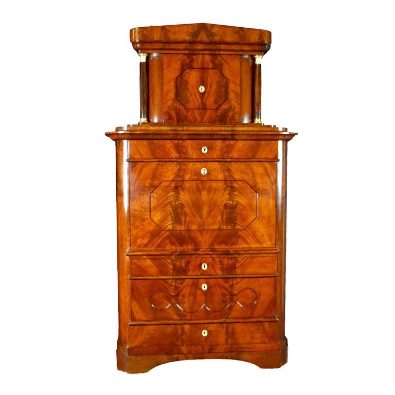 Secretaire Tabernacle Early 19th Century Biedermeier Signed For Sale