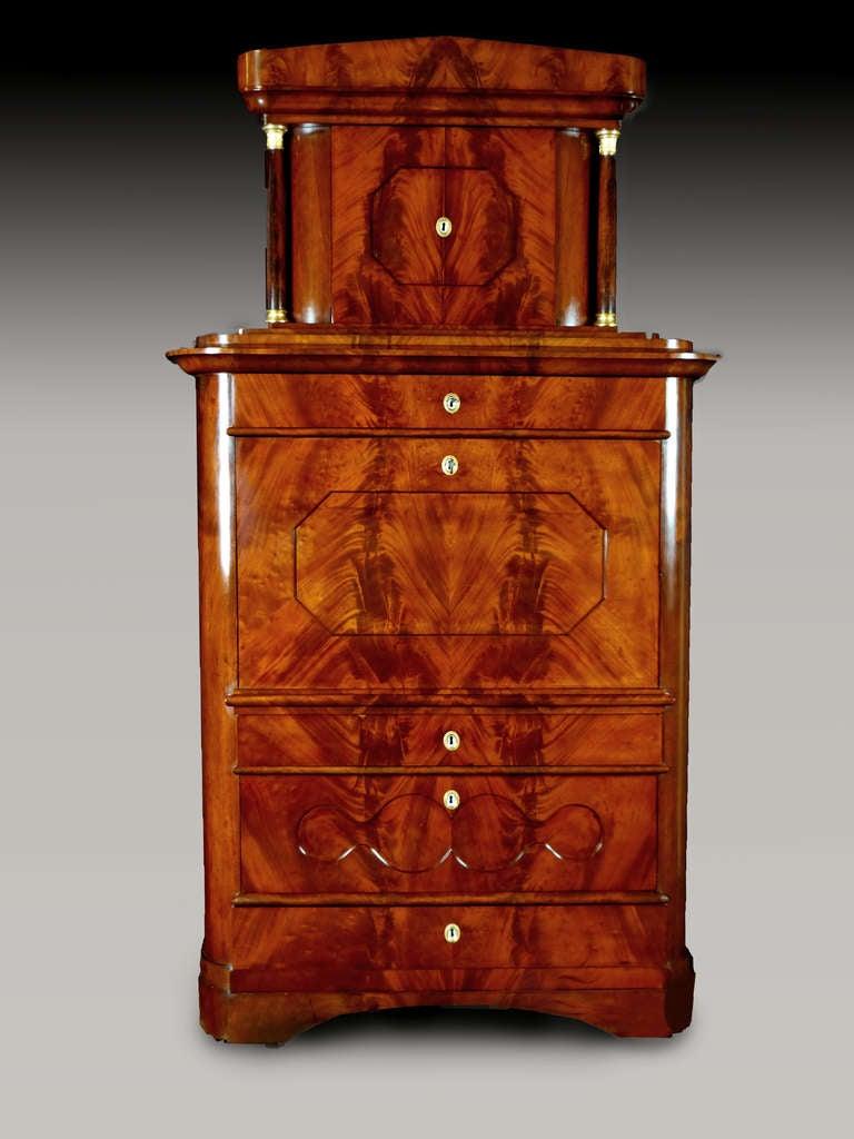 Swedish Secretaire Tabernacle Early 19th Century Biedermeier Signed For Sale