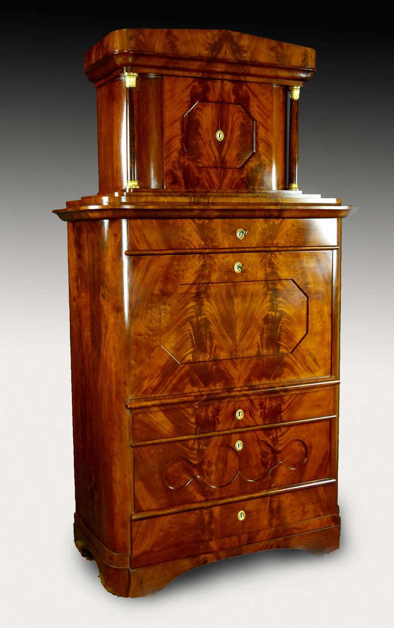 Veneer Secretaire Tabernacle Early 19th Century Biedermeier Signed For Sale