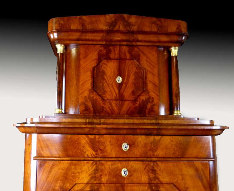 Secretaire Tabernacle Early 19th Century Biedermeier Signed For Sale 2