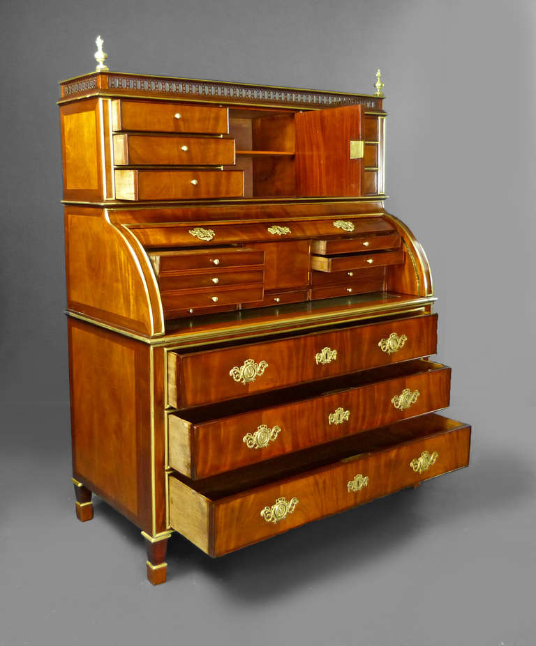 bureau secretaire roll top russian empire at 1stdibs. Black Bedroom Furniture Sets. Home Design Ideas