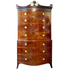 Chest on Chest of Drawers 18th Century Bow-front Mahogany