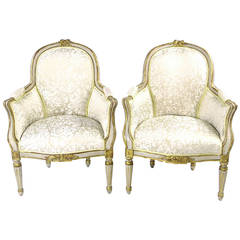 19th Century Louis XVI Style Bergere Type Armchairs