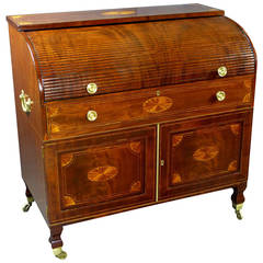 Fine Georgian 18th Century Roll-Top Tambour Bureau Desk