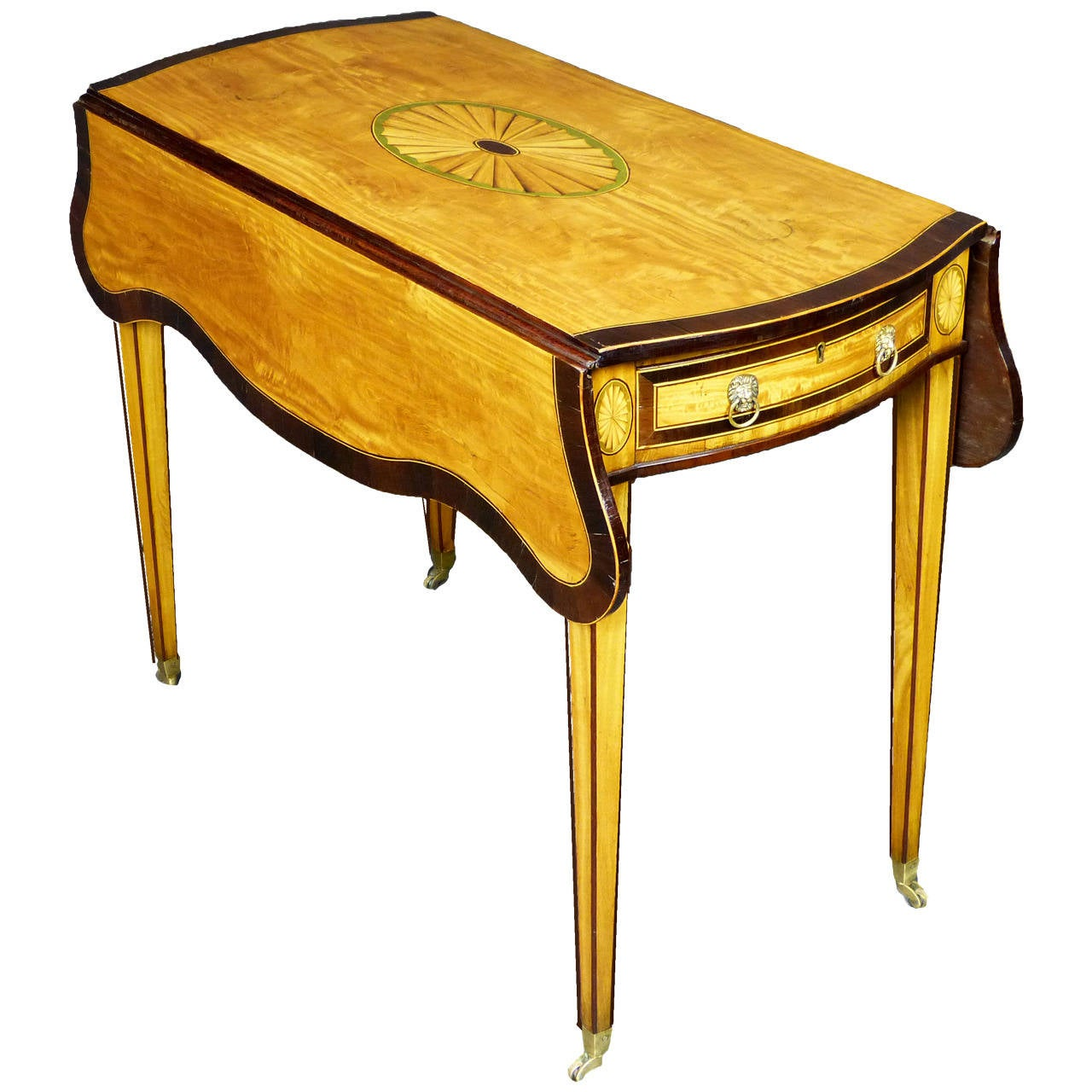 Captivating George III Sheraton Pembroke Table In Satinwood For Sale