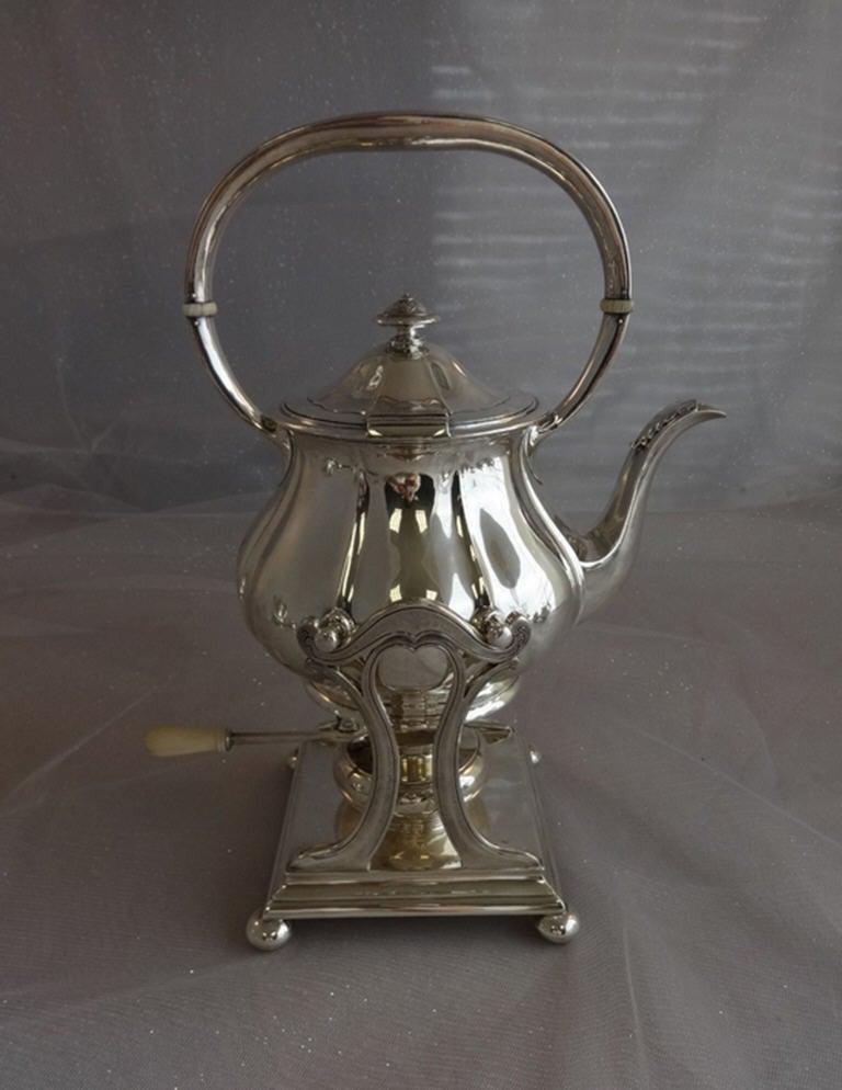 Arthur Stone Sterling Silver Tea Set Tilting Kettle On