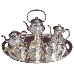 Arthur Stone Sterling Silver Tea Set Tilting Kettle on Cradle w Tray Hollowware
