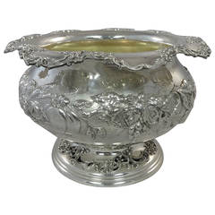 Ferdinand Fuchs & Bros. Sterling Silver Punch Bowl with Fruit Motif Hollowware