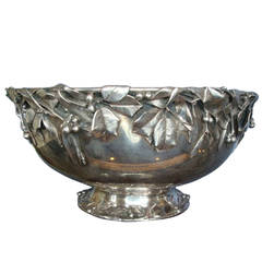 Whiting Art Silver Sterling Silver 3D Holly Punch Bowl, circa 1880