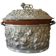 Baltimore Rose Schofield Repousse Sterling Silver Casserole 3-D Lion Hollowware
