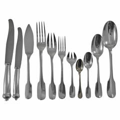 Enlarge Louvois by Puiforcat Sterling Silver Flatware Set Service France 248 Pcs