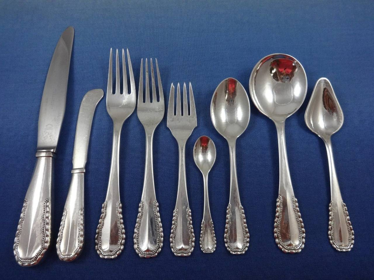 Viking by georg jensen sterling silver flatware set of 77 pieces danish for sale at 1stdibs - Unusual flatware sets ...