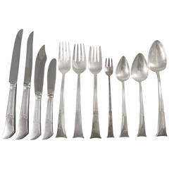 Linenfold by Tiffany & Co, Sterling Silver Flatware Set Service 121 Pieces