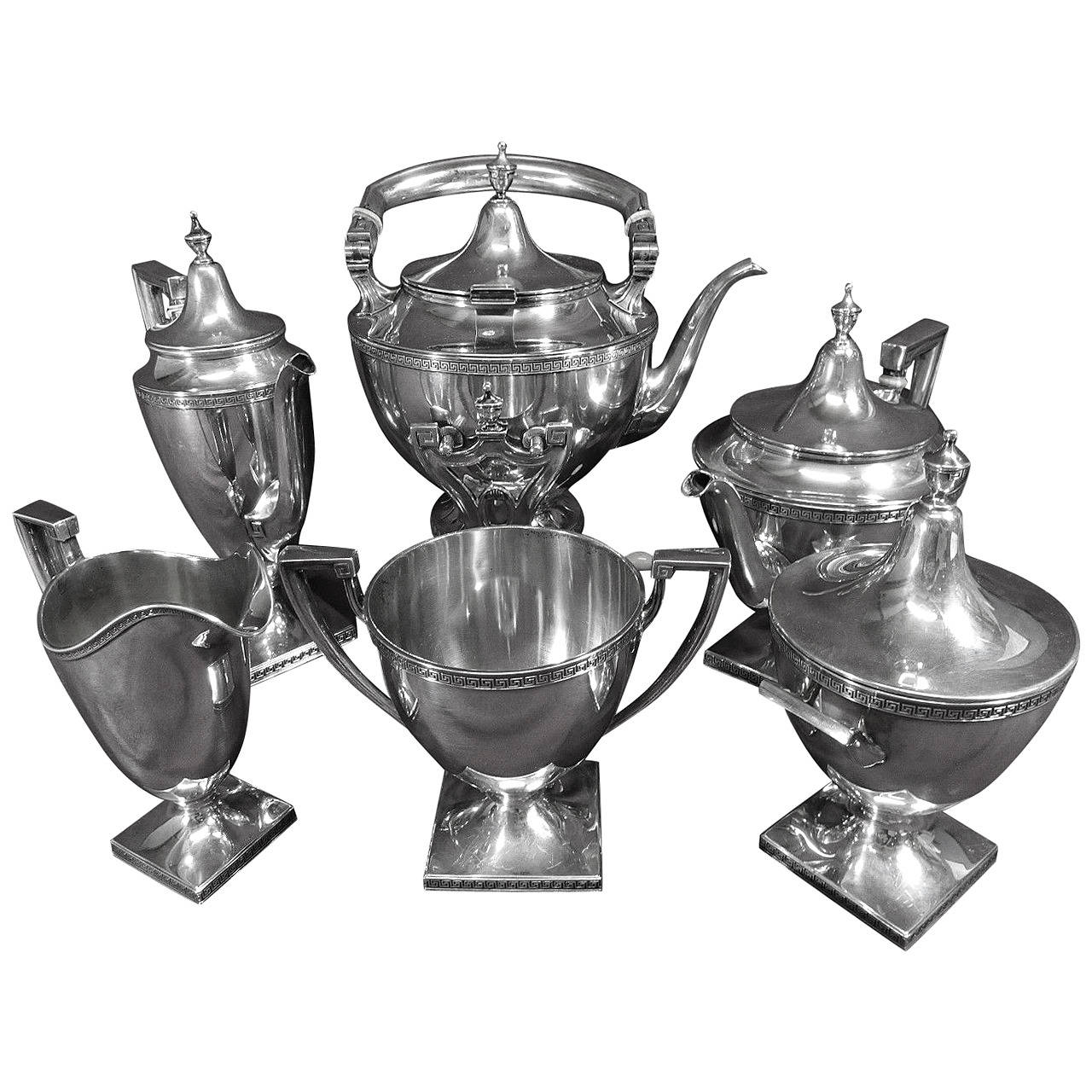 Etruscan By Gorham Sterling Silver Tea Set Six Piece With
