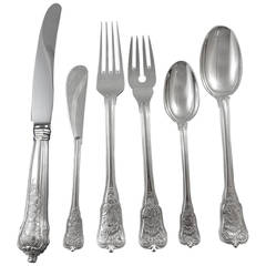 Rosenborg by A. Michelsen Sterling Silver Flatware Set Service Dinner Size 77 Pc