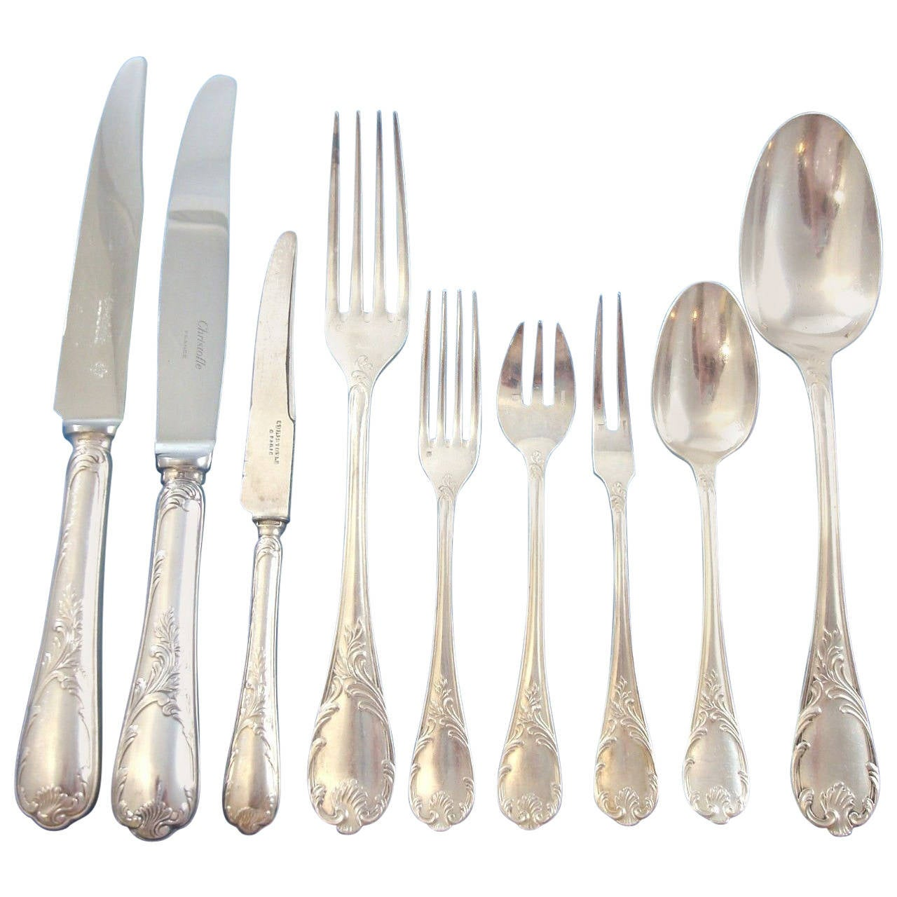 marly by christofle silver plate flatware set service 166 pieces at 1stdibs