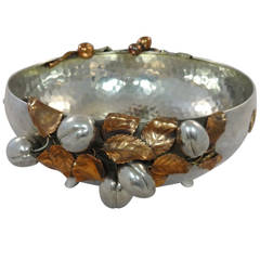 MIXED METALS BY GORHAM Sterling Copper Gilt Silver Bowl Bird Rooster 3D FRUIT