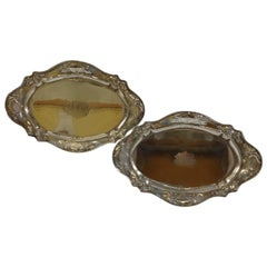 Martele by Gorham, 950 Sterling Silver Pair Footed Condiment Trays Hollowware
