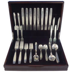 Swedish Modern by Allan Adler Sterling Silver Flatware Set of Hand-Wrought