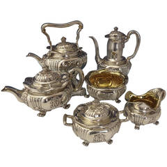 Tiffany & Co. Sterling Silver Tea Six-Piece Set with Chrysanthemums