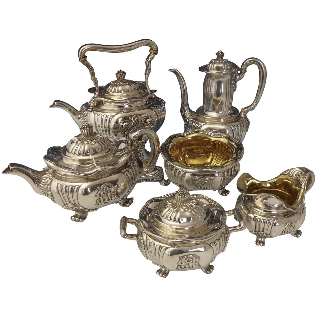 Tiffany & Co. Sterling Silver Tea Six-Piece Set with Chrysanthemums Hollowware