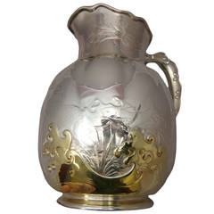 Whiting Sterling Silver Gilt Pitcher Waves Fish Acid Etched