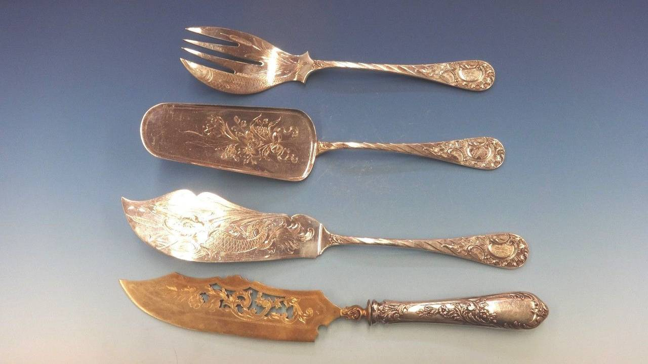 German circa 1890 Fitted Box 800 Silver Flatware Set Service of 166 Pieces For Sale 4