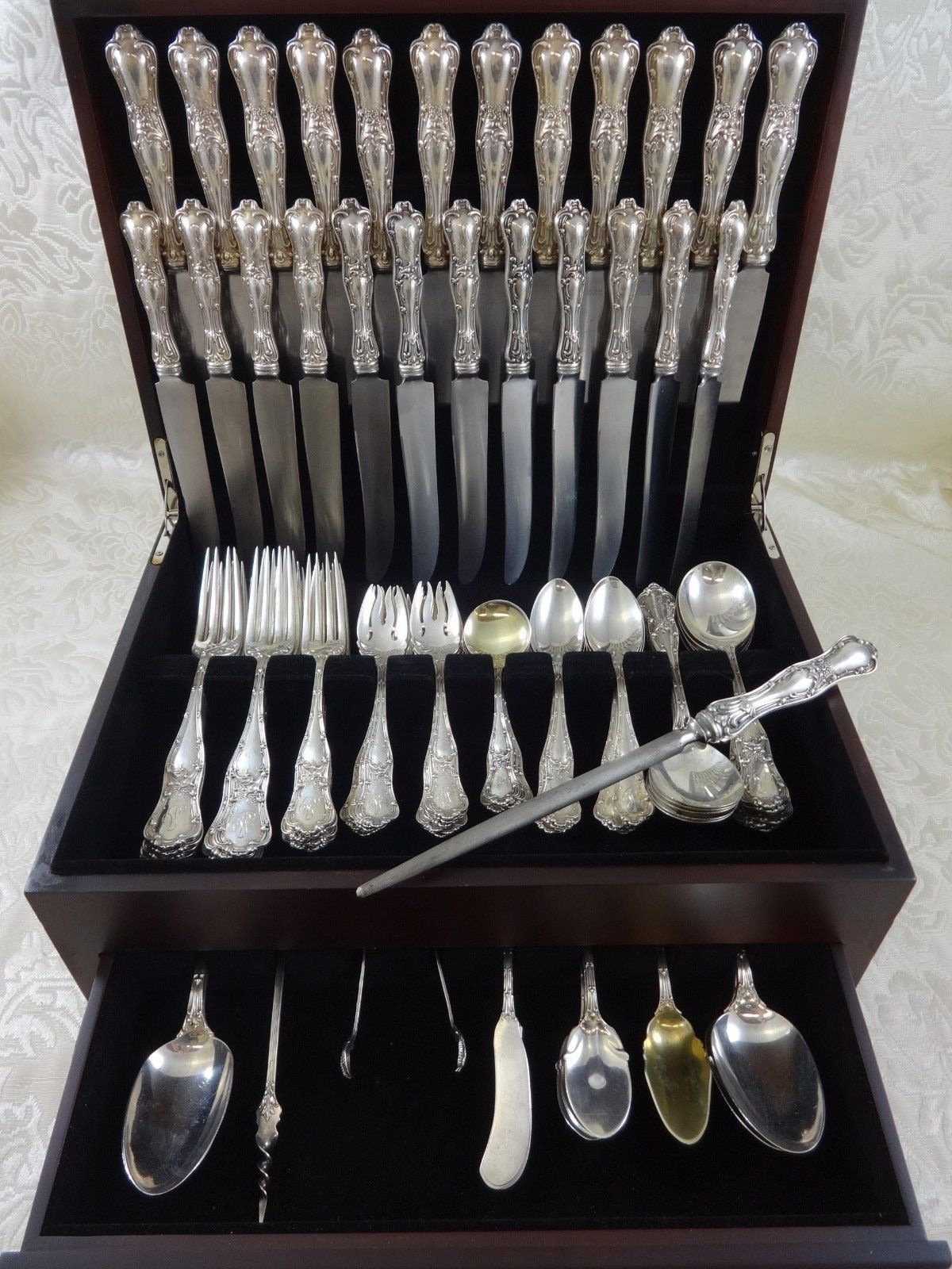 Rare Gothic by Shiebler circa 1890 sterling silver dinner and luncheon flatware set 123 & Gothic by Shiebler Sterling Silver Dinner Flatware Set Service 123 ...