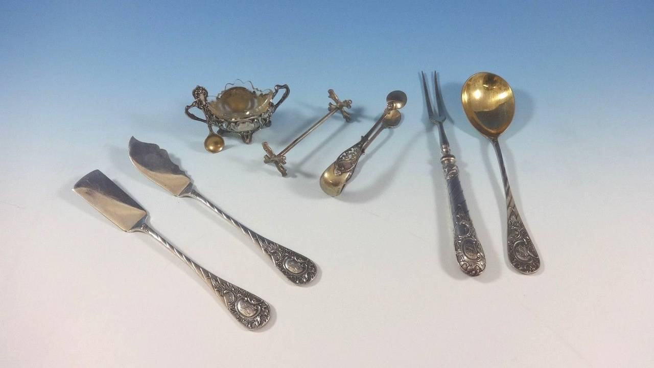 German circa 1890 Fitted Box 800 Silver Flatware Set Service of 166 Pieces For Sale 1
