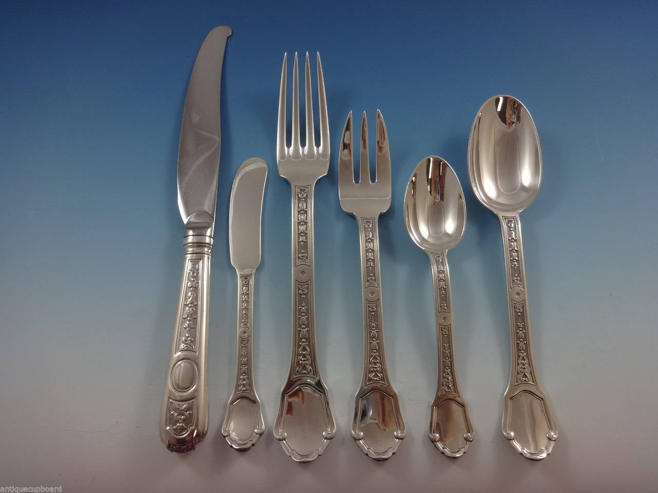 Versailles by Tetard Freres French sterling silver flatware set, 70 pieces. This set includes: 11 Dinner Knives, 9