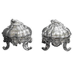 Odiot Sterling Silver Pair Figural Covered Vegetable Dishes