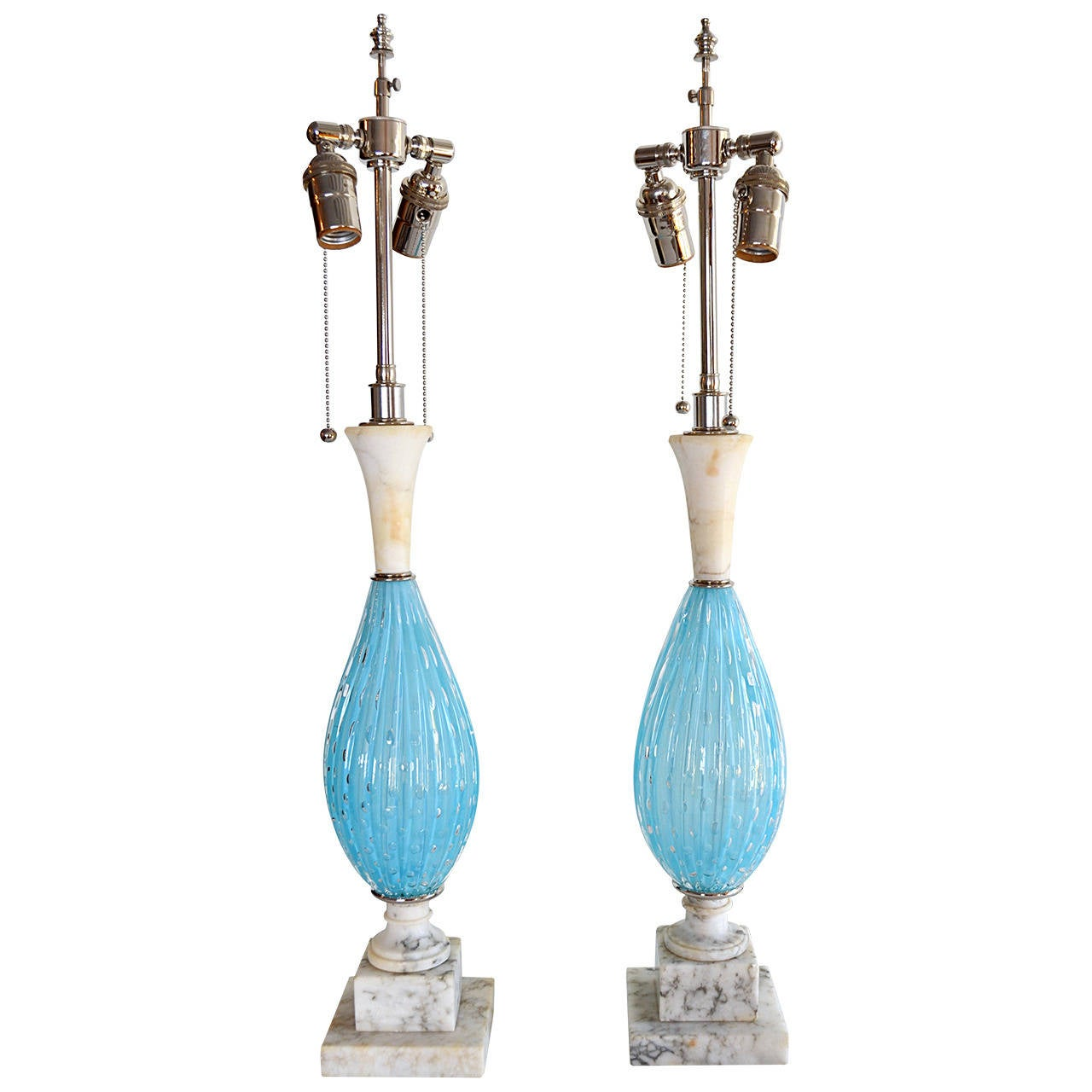 Pair of Seguso Aqua Blue Murano Glass and Italian Marble Lamps