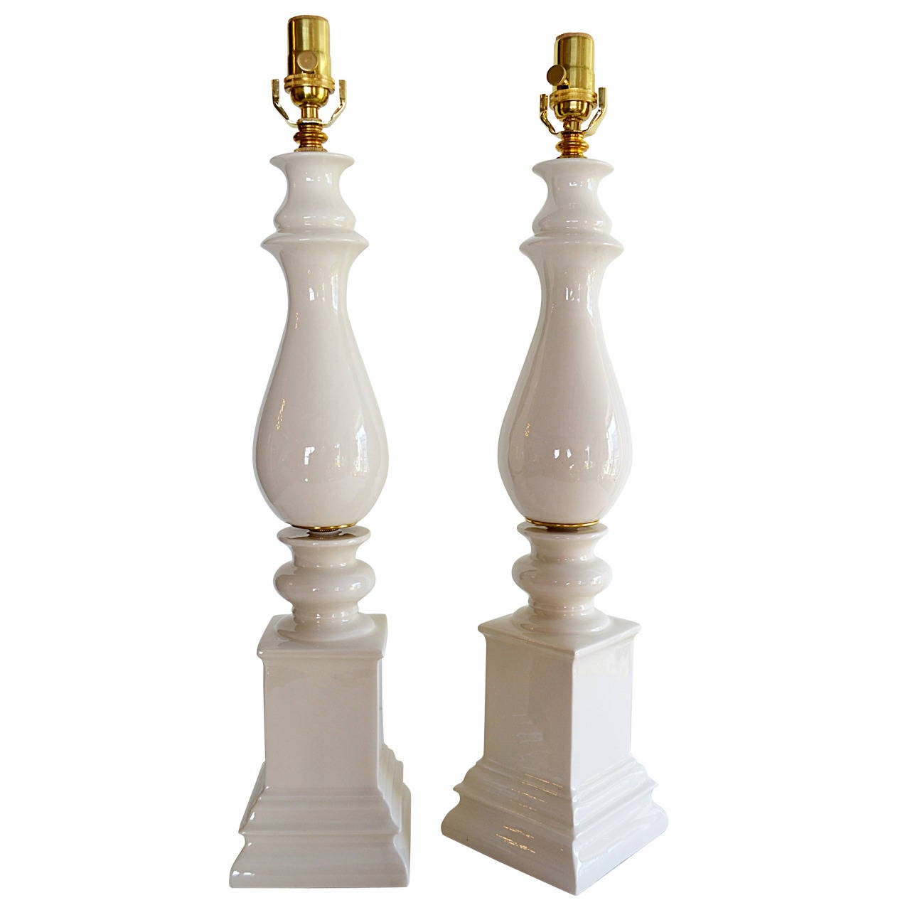 Pair of Blanc de Chine Baluster Form Table Lamps