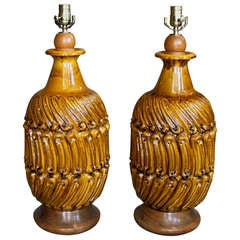 Pair of Large Figured Ceramic Table Lamps