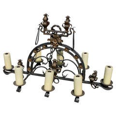 Wrought Iron and Gilt Chandelier