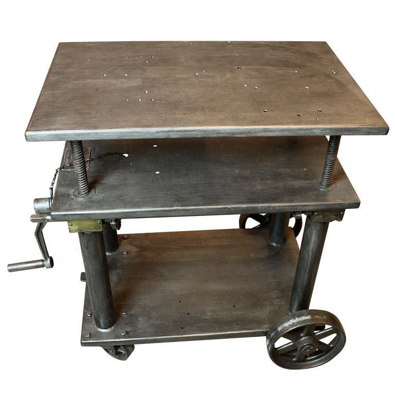 Industrial 3 tier adjustable work table at 1stdibs for Furniture work table