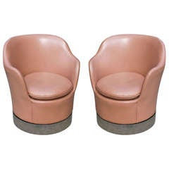 Pair of Leather Swivel Chairs by Phillip Enfield